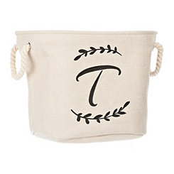 Cream Branch Monogram T Storage Bin