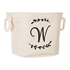 Cream Branch Monogram W Storage Bin