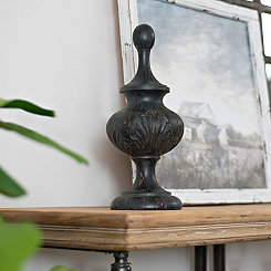 Carved Dark Faux Wood Finial, 16.25 in.