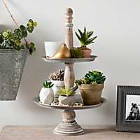 Galvanized Metal and Whitewashed Wood Tiered Tray