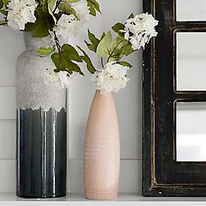 Pink Ribbed Ceramic Vase, 12 in.
