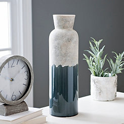Slate Blue Two-Tone Ceramic Vase, 17 in.