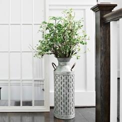 Galvanized Metal Olive Vase