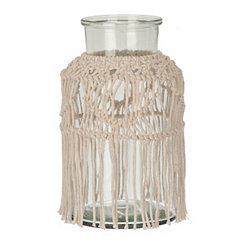 Macrame Glass Vase, 10 in.