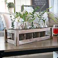 Wooden Crate Caddy Vase Runner Set