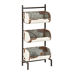 White Distressed Metal 3-Tier Trough Stand