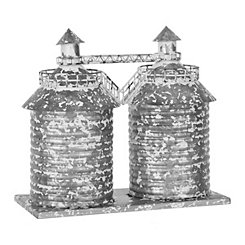 Galvanized Double Silo Figurine