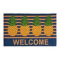 Pineapple Stripe Welcome Mat