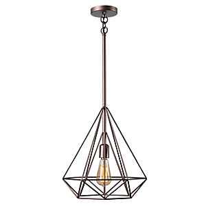 Vintage Copper Pyramid Pendant Lamp