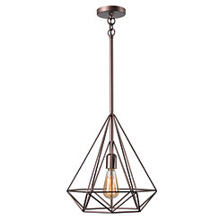 Vintage Copper Pyramid Pendant Lamp