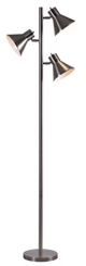 Brushed Steel Ash Triple Floor Lamp
