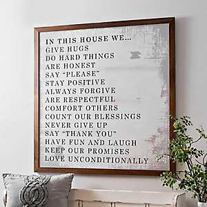 House Rules White Washed Framed Art Print