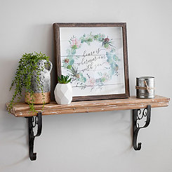 Weathered Wood with Iron Base Wall Shelf