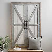 White Wash Galvanized Barn Door Wall Plaque