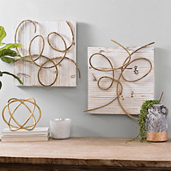 Gold Swirl Wood and Metal Wall Plaques, Set of 2