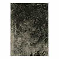 Silver Faux Fur Accent Rug, 2x3