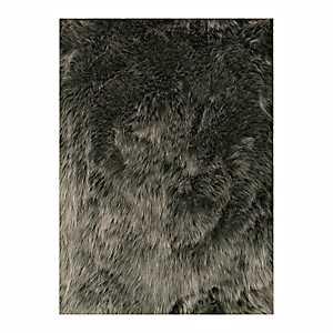 Silver Faux Fur Accent Rug, 2x3