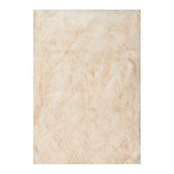 White Faux Fur Accent Rug, 2x3