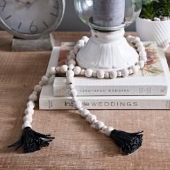 Wood Bead Garland with Black Tassels