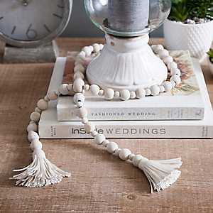 Wood Bead Garland with Cream Tassels