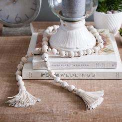 Wood Bead Garland with Cream Tassels