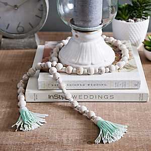 Wood Bead Garland with Turquoise Tassels