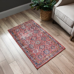 Distressed Red Print Accent Rug, 2x4