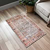 Distressed Multicolored Accent Rug, 2x4