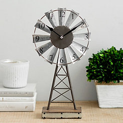 Galvanized Windmill Tabletop Clock on Stand