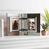 2-Opening Distressed White Hinge Collage Frame