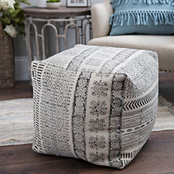 Charcoal Dhurrie Cotton Pouf