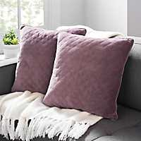 Amethyst Quilted Velvet Pillows, Set of 2