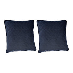 Blue Quilted Velvet Pillows, Set of 2