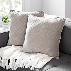 Cobblestone Quilted Velvet Pillows, Set of 2