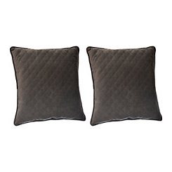 Gunmetal Quilted Velvet Pillows, Set of 2
