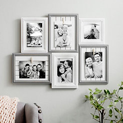 6-Opening Shiplap Wood Collage Frame with Clips