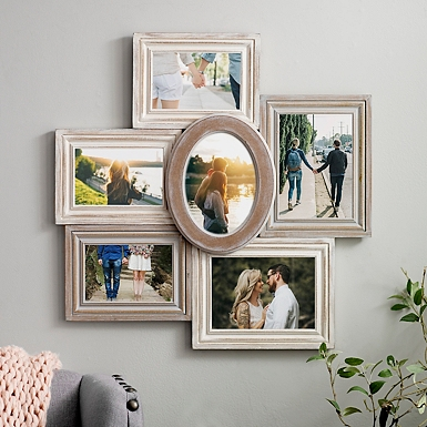 6 opening wood with round center collage frame - Window Collage Frame