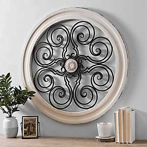 Hannah Medallion Wood with Metal Wall Plaque