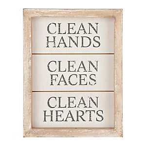 Clean Hands, Faces, and Hearts Word Block