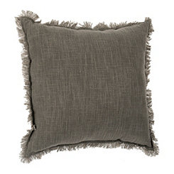 Gray Linen Fringe Pillow
