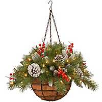Pre-Lit Frosted Berry Hanging Basket