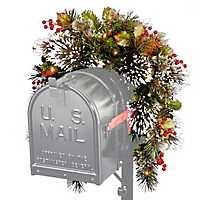 Pre-Lit Wintry Pine Mailbox Swag