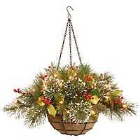 Pre-Lit Wintry Pine Hanging Basket