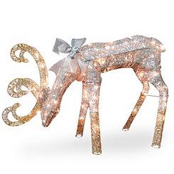 Pre-Lit Crystal Sisal Feeding Deer Statue