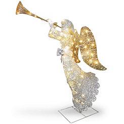 Pre-Lit Crystal Sisal Trumpeting Angel Statue