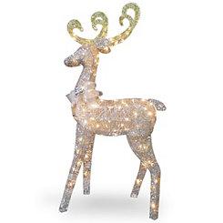 Pre-Lit Crystal Sisal Standing Reindeer Statue
