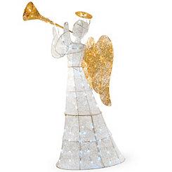 Pre-Lit Crystal Sisal Musical Angel Statue