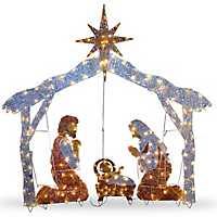 Pre-Lit Crystal Sisal Nativity Scene