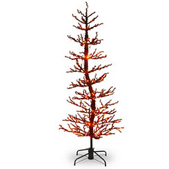 Pre-Lit Orange and Black Wobble Tree, 7 ft.