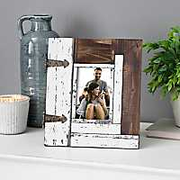 Distressed White Barnwood Door Picture Frame, 4x6